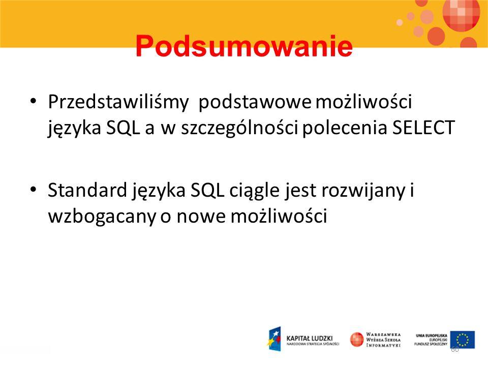 Podsumowanie Przedstawiliśmy podstawowe możliwości języka SQL a w szczególności polecenia SELECT.