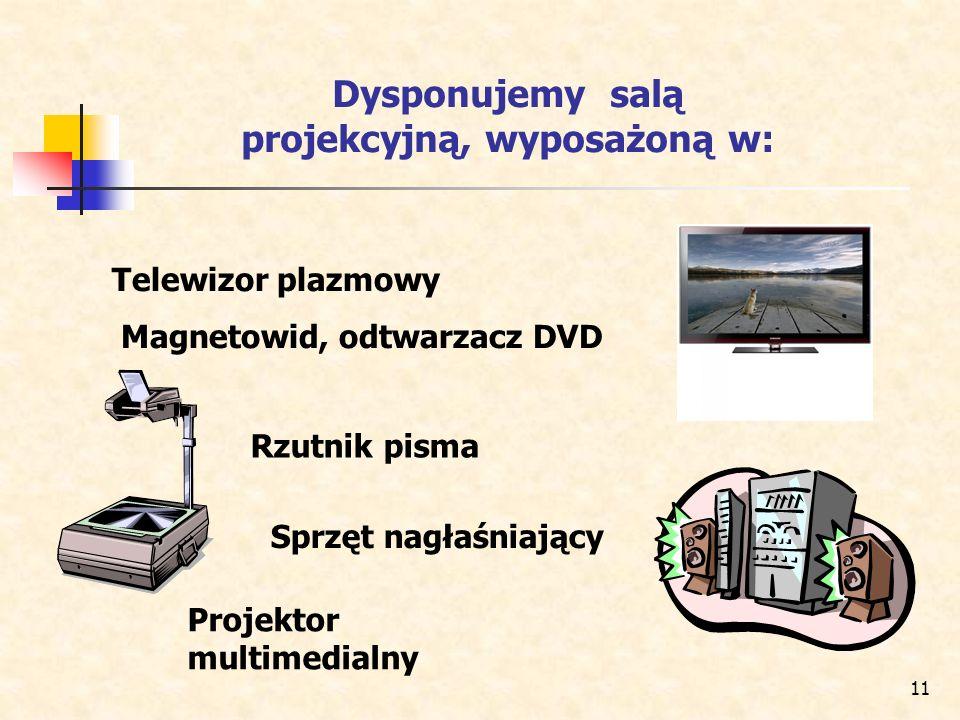Dysponujemy salą projekcyjną, wyposażoną w: