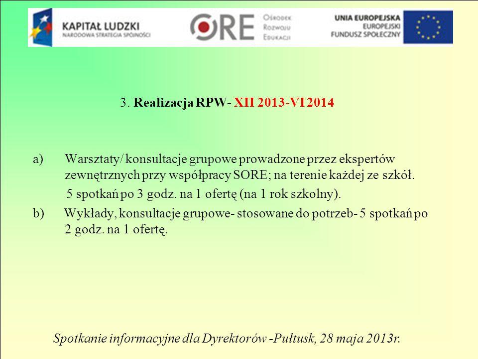 3. Realizacja RPW- XII 2013-VI 2014