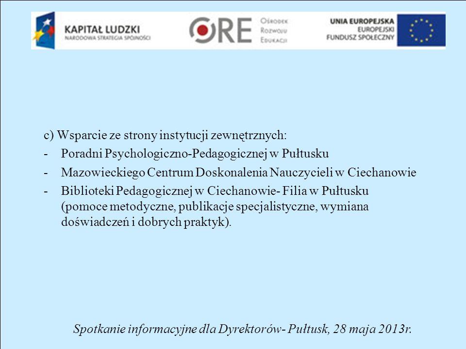 Spotkanie informacyjne dla Dyrektorów- Pułtusk, 28 maja 2013r.