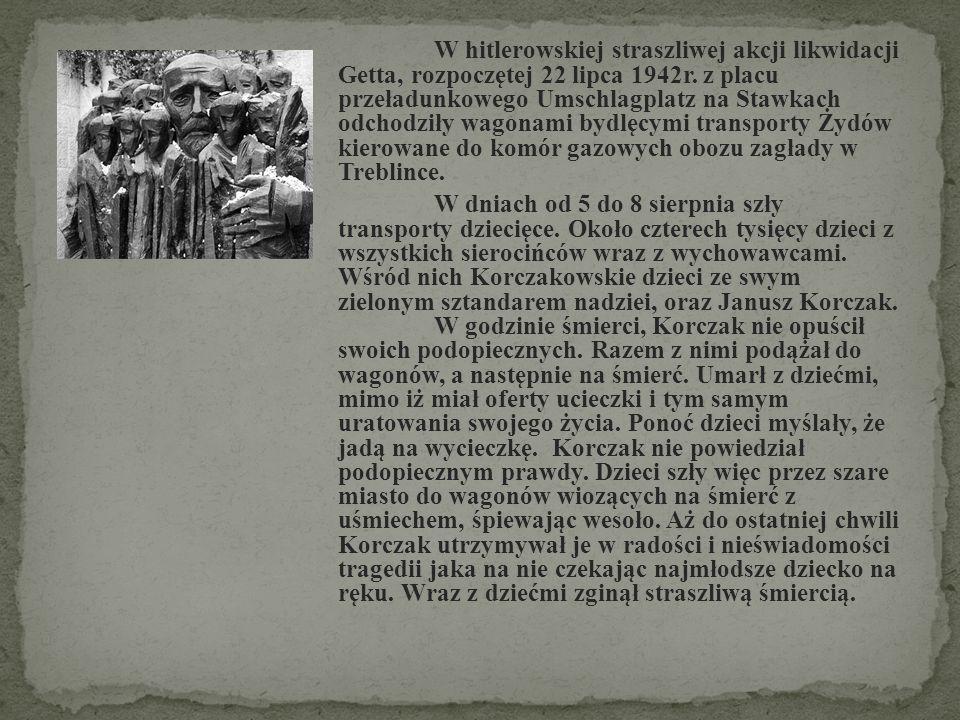 W hitlerowskiej straszliwej akcji likwidacji Getta, rozpoczętej 22 lipca 1942r. z placu przeładunkowego Umschlagplatz na Stawkach odchodziły wagonami bydlęcymi transporty Żydów kierowane do komór gazowych obozu zagłady w Treblince.