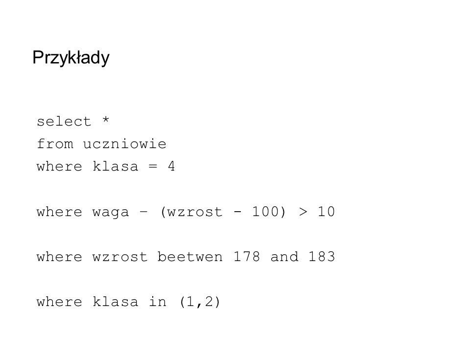 Przykłady select * from uczniowie where klasa = 4