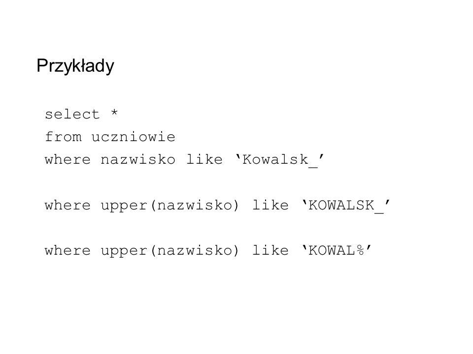 Przykłady select * from uczniowie where nazwisko like 'Kowalsk_'