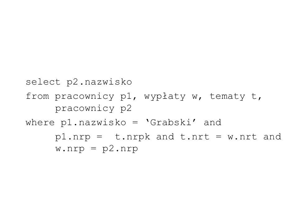 select p2.nazwisko from pracownicy p1, wypłaty w, tematy t, pracownicy p2. where p1.nazwisko = 'Grabski' and.