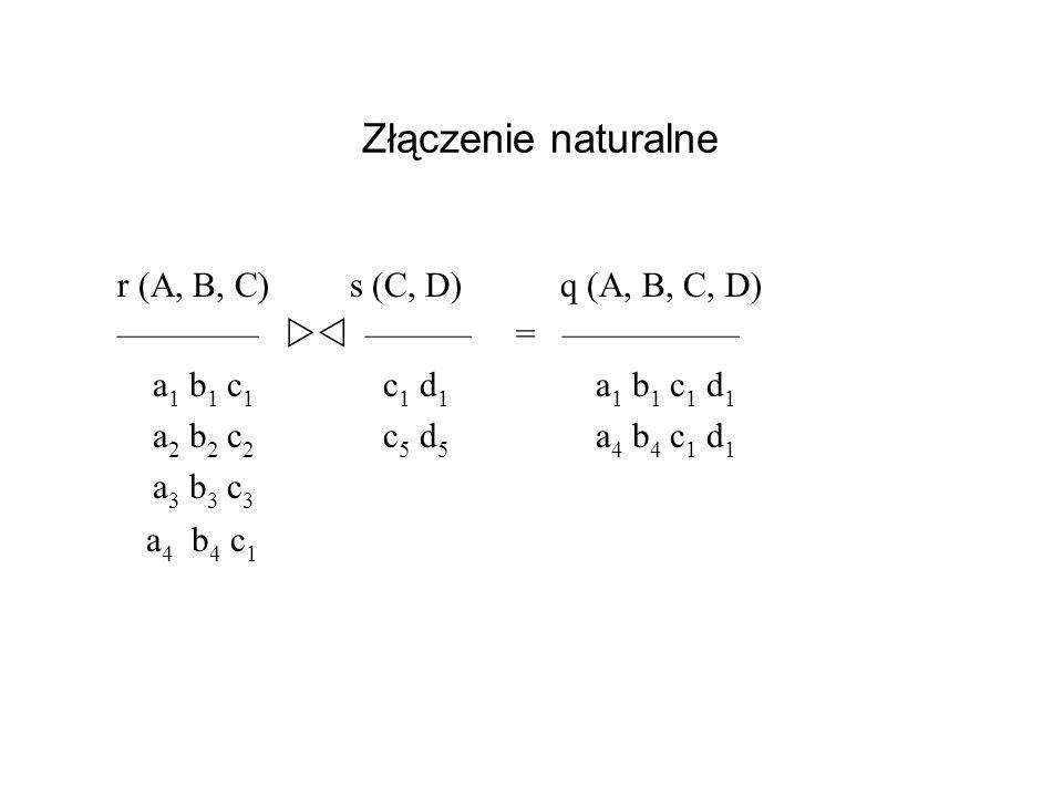 Złączenie naturalne r (A, B, C) s (C, D) q (A, B, C, D)