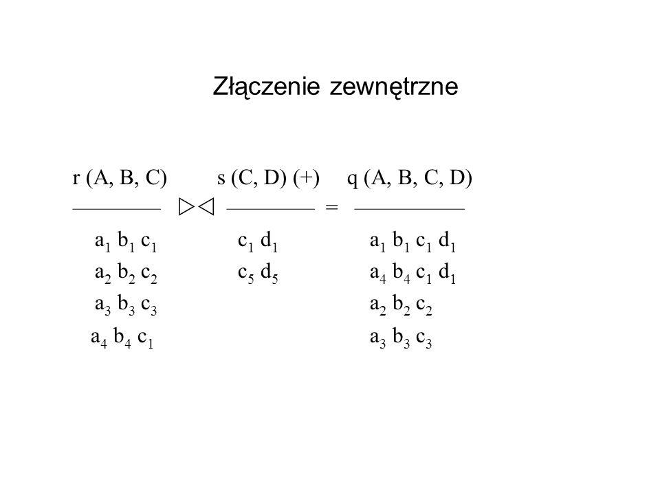 Złączenie zewnętrzne r (A, B, C) s (C, D) (+) q (A, B, C, D)