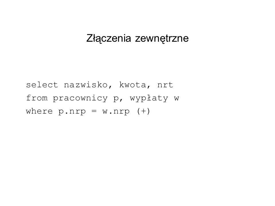 Złączenia zewnętrzne select nazwisko, kwota, nrt