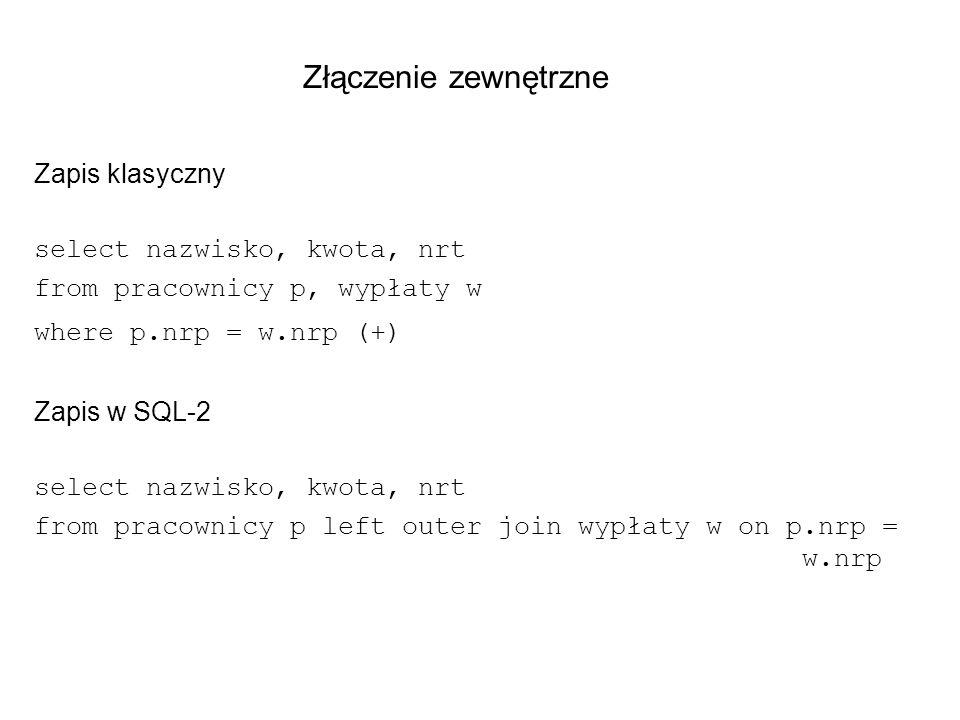 Złączenie zewnętrzne Zapis klasyczny select nazwisko, kwota, nrt