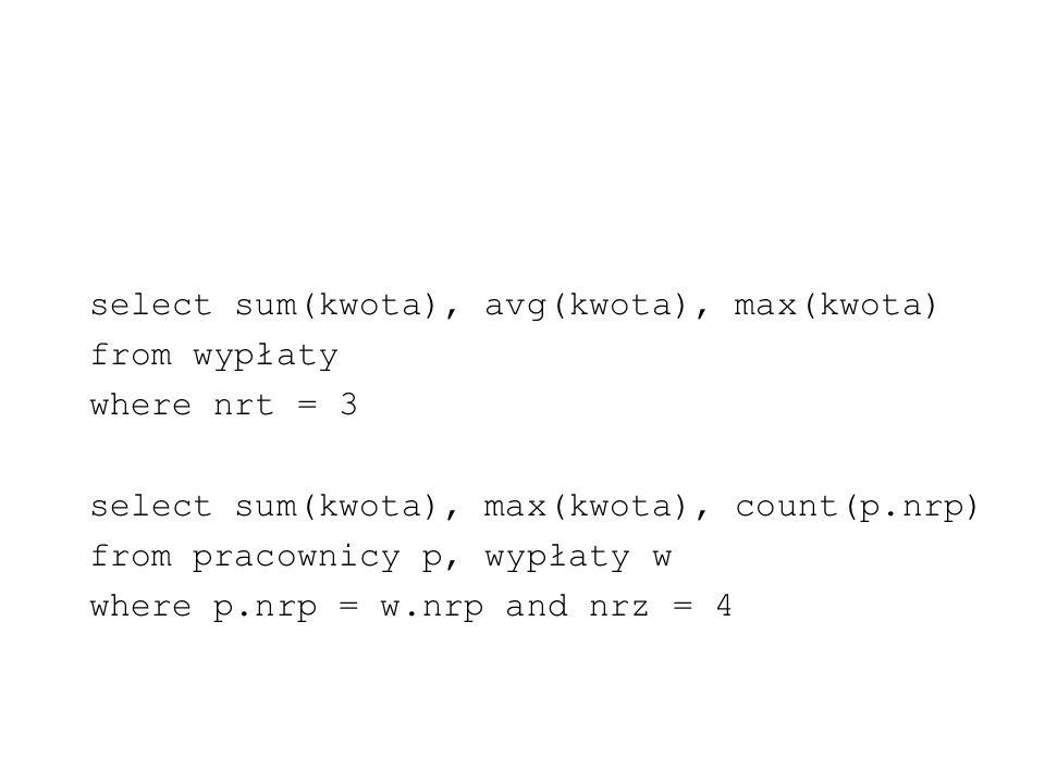 select sum(kwota), avg(kwota), max(kwota)