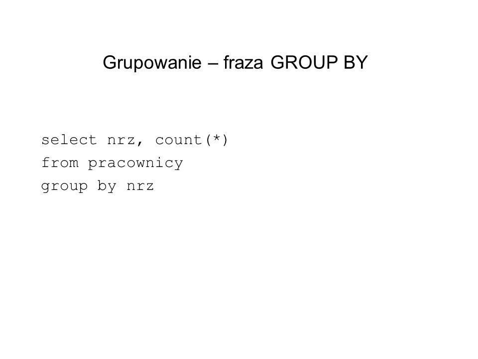 Grupowanie – fraza GROUP BY