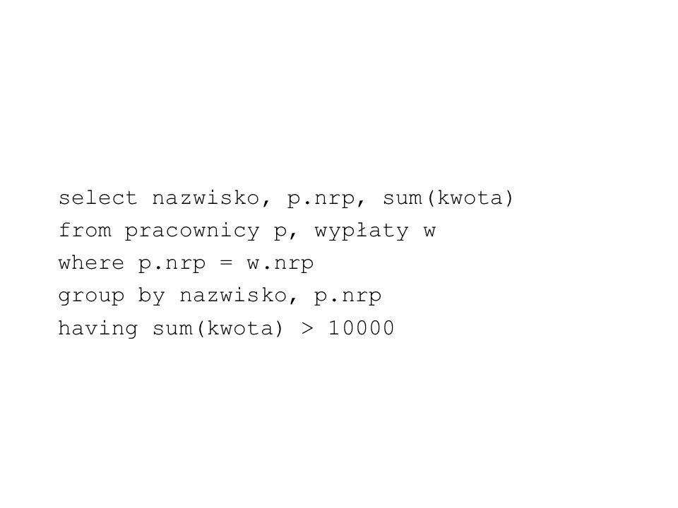 select nazwisko, p.nrp, sum(kwota)
