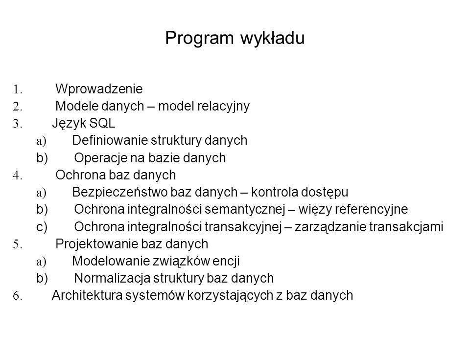 Program wykładu Wprowadzenie Modele danych – model relacyjny Język SQL