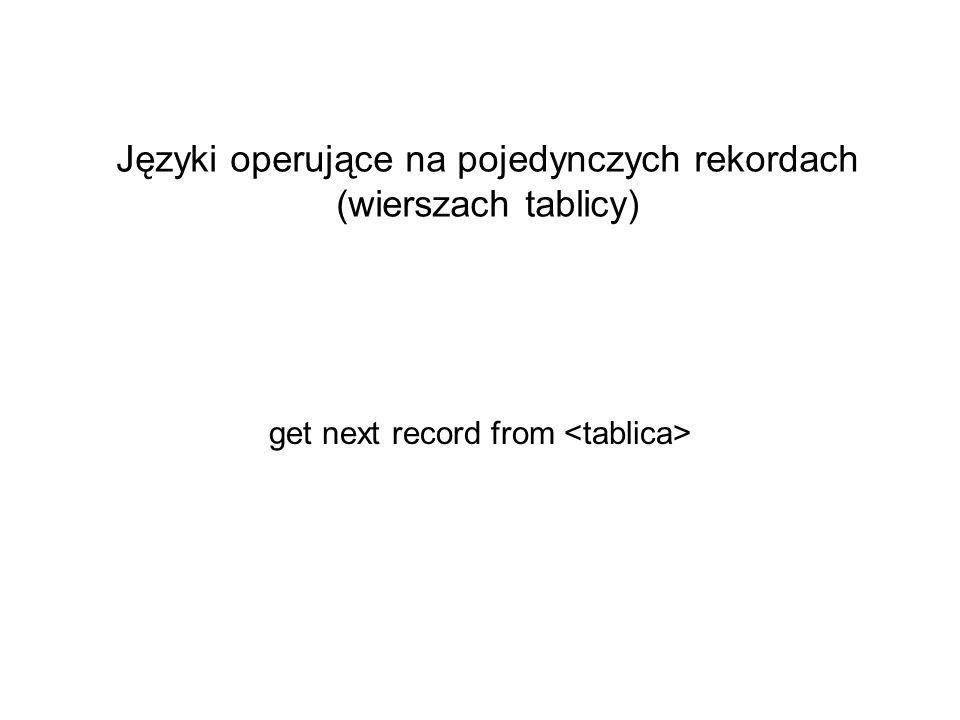 Języki operujące na pojedynczych rekordach (wierszach tablicy)