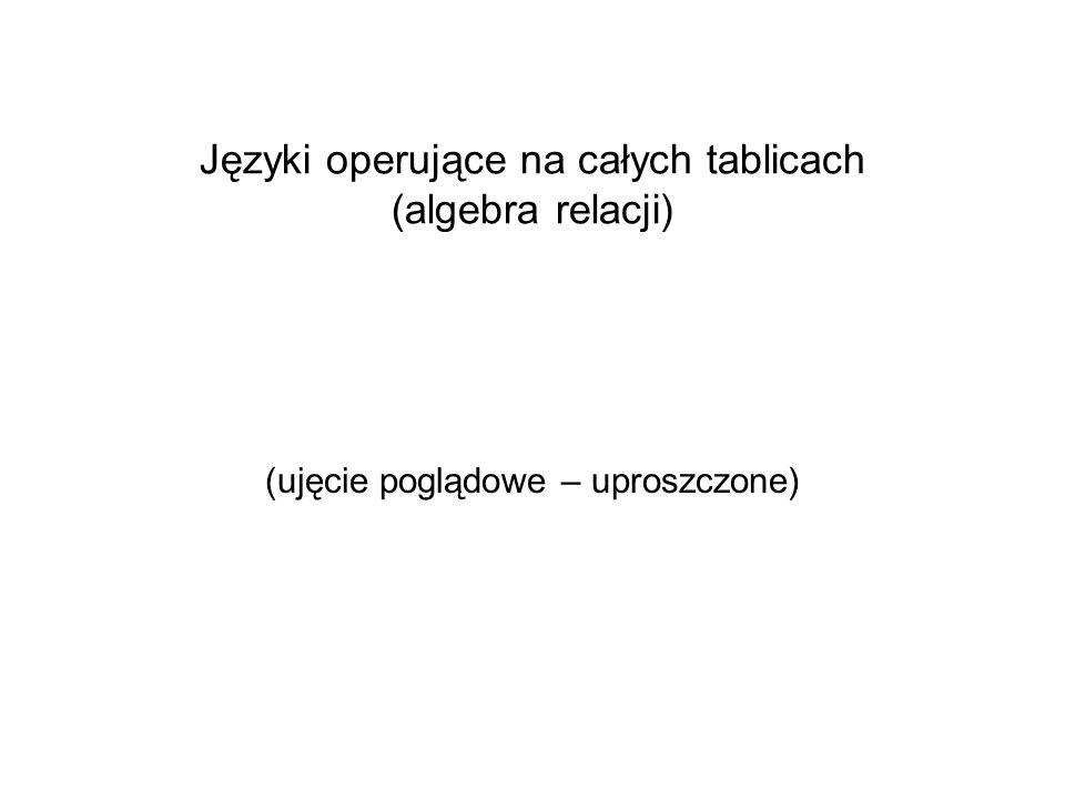 Języki operujące na całych tablicach (algebra relacji)
