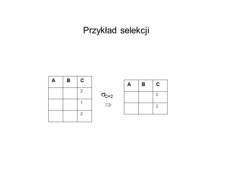 Przykład selekcji A B C 2 1 C=2 