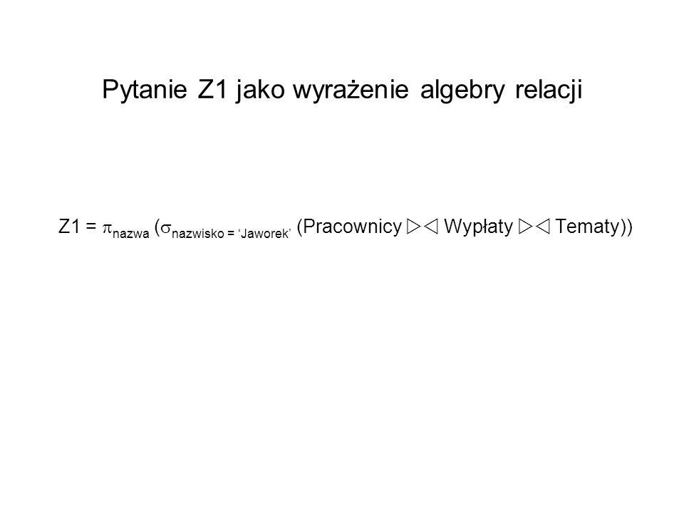 Pytanie Z1 jako wyrażenie algebry relacji