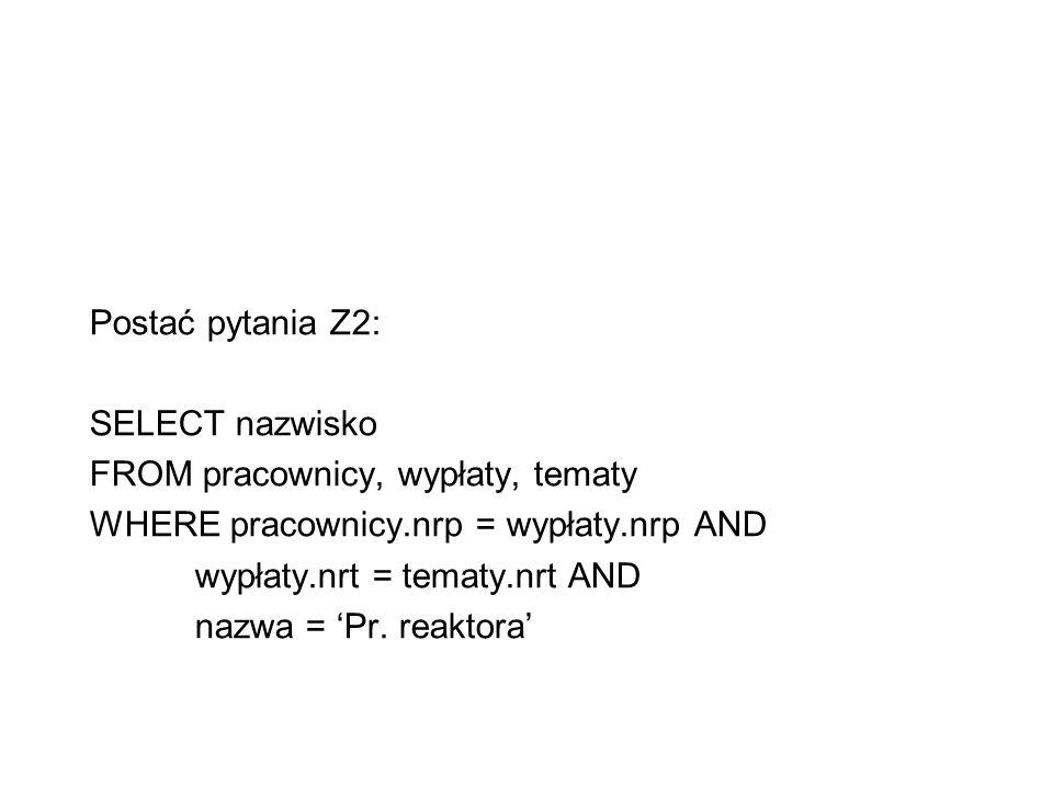 Postać pytania Z2: SELECT nazwisko. FROM pracownicy, wypłaty, tematy. WHERE pracownicy.nrp = wypłaty.nrp AND.