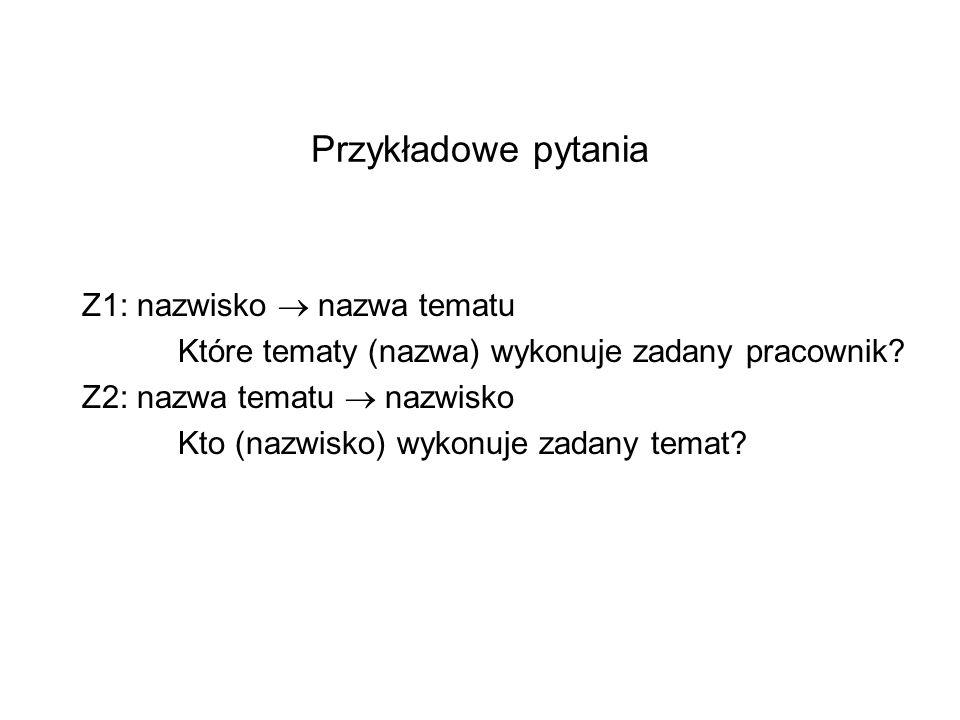Przykładowe pytania Z1: nazwisko  nazwa tematu