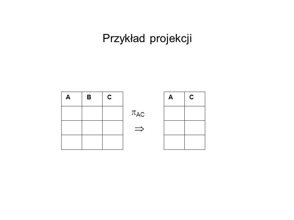 Przykład projekcji A B C AC 