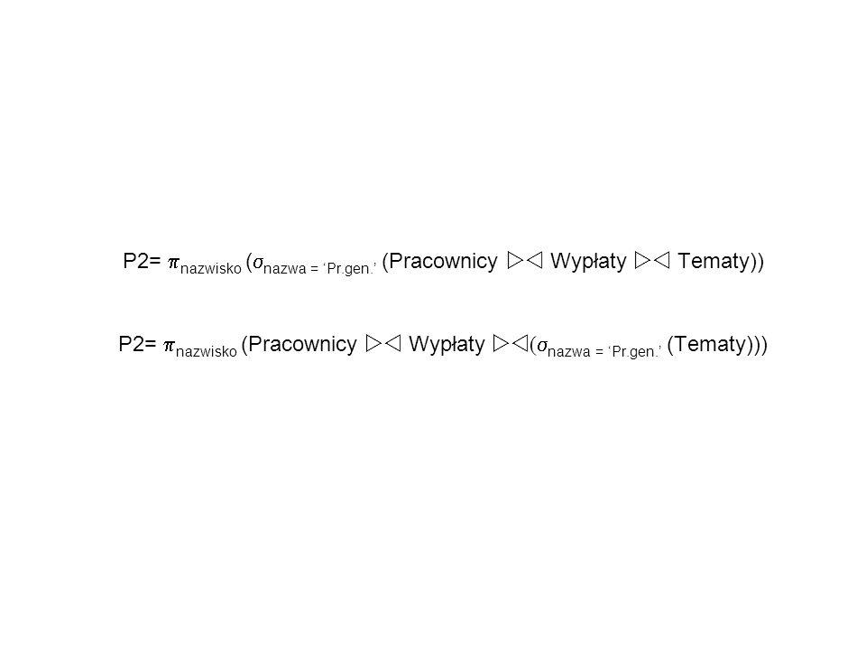 P2= nazwisko (nazwa = 'Pr.gen.' (Pracownicy  Wypłaty  Tematy))
