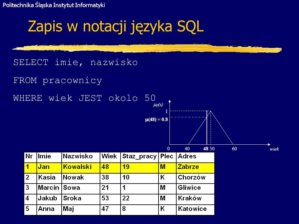 Zapis w notacji języka SQL