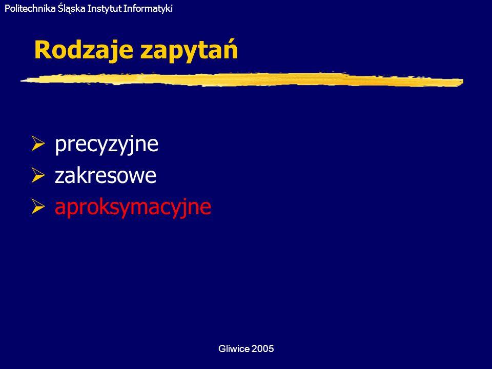 Rodzaje zapytań precyzyjne zakresowe aproksymacyjne Gliwice 2005