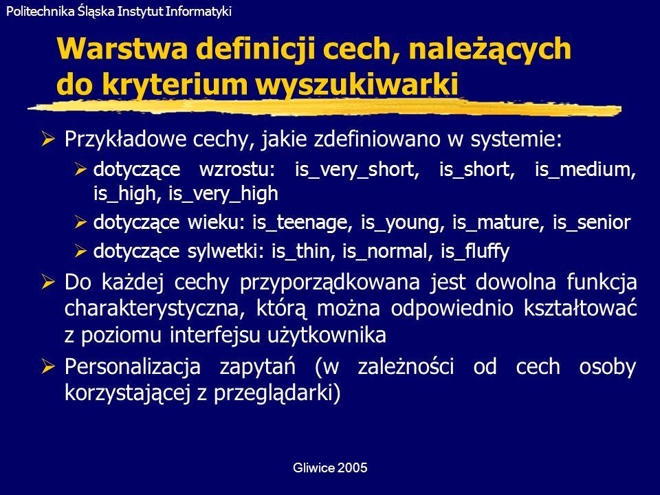 Warstwa definicji cech, należących do kryterium wyszukiwarki