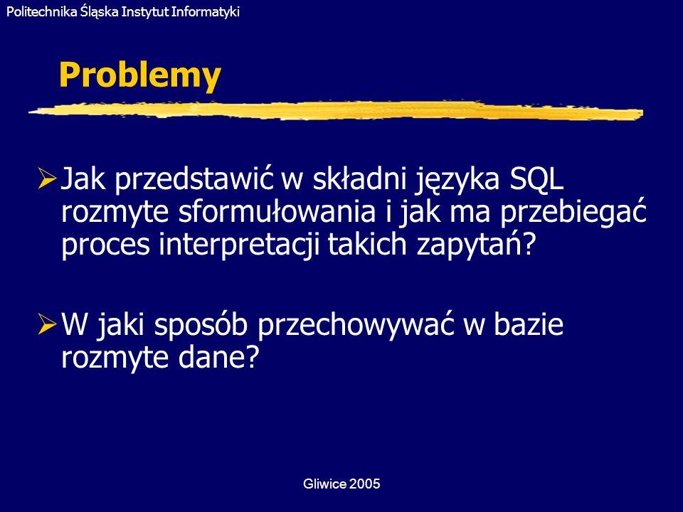 Problemy Jak przedstawić w składni języka SQL rozmyte sformułowania i jak ma przebiegać proces interpretacji takich zapytań