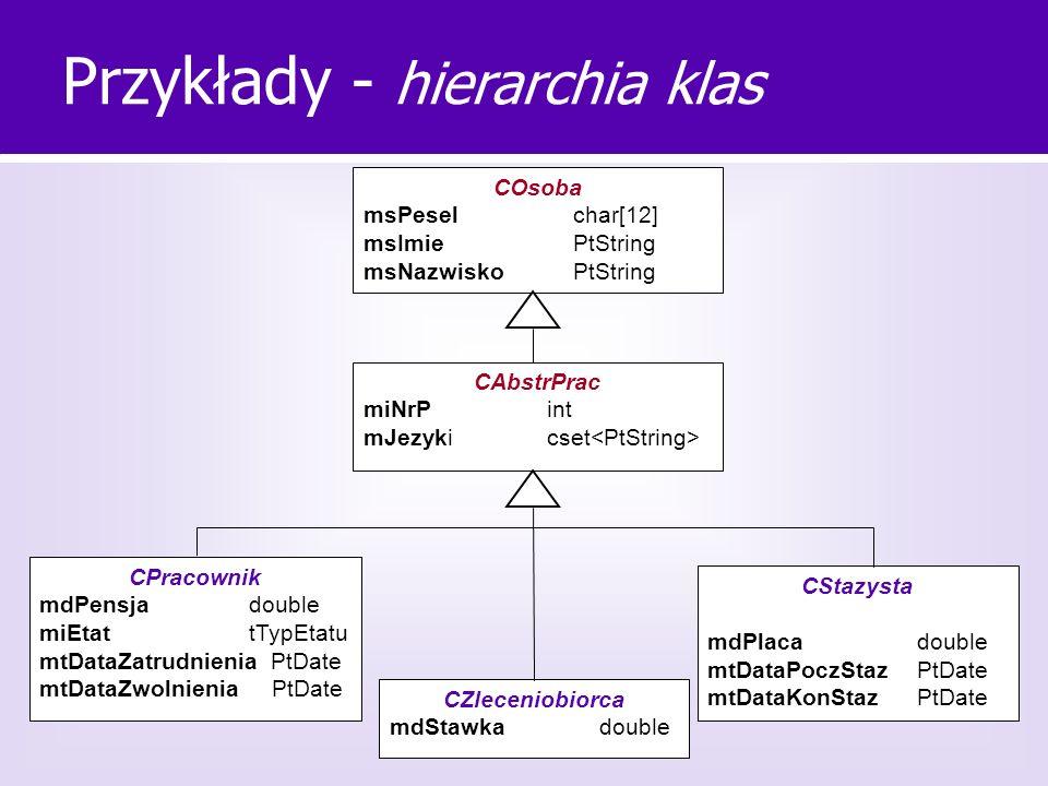 Przykłady - hierarchia klas