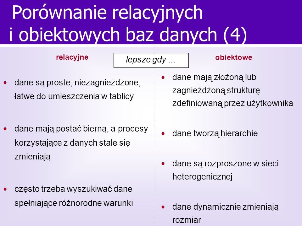 Porównanie relacyjnych i obiektowych baz danych (4)