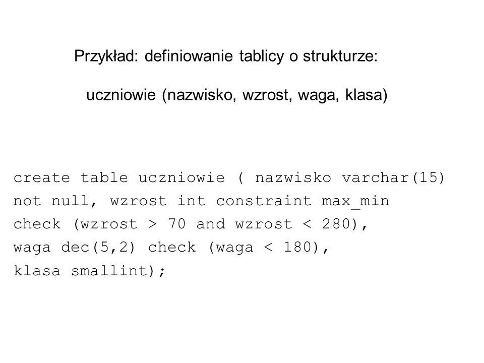 Przykład: definiowanie tablicy o strukturze: uczniowie (nazwisko, wzrost, waga, klasa)