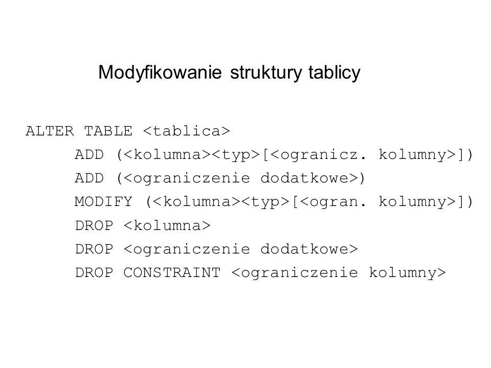 Modyfikowanie struktury tablicy