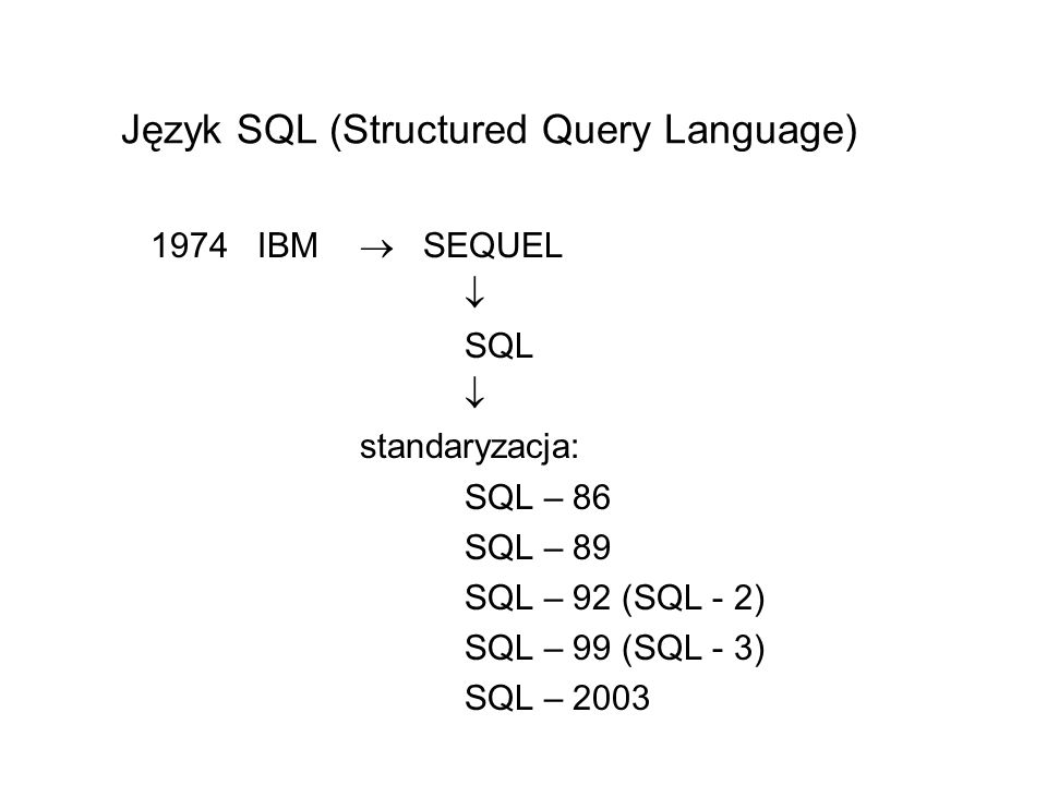 Język SQL (Structured Query Language)