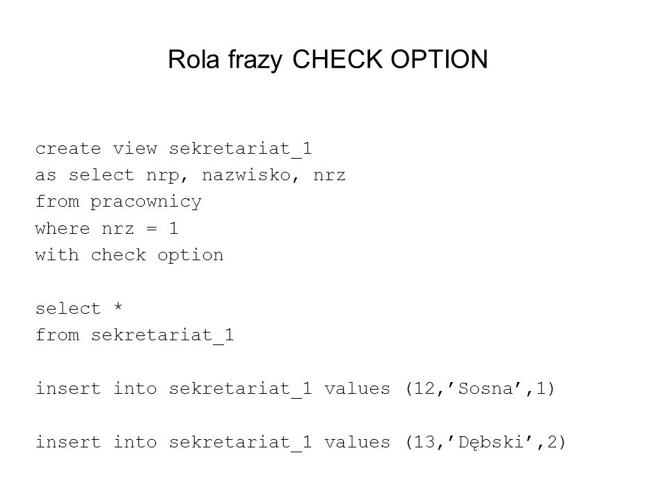 Rola frazy CHECK OPTION