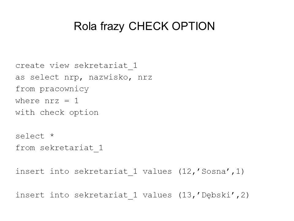Rola frazy CHECK OPTION