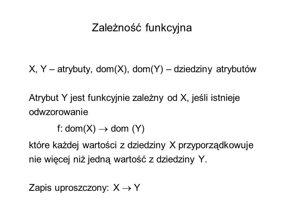 Zależność funkcyjna X, Y – atrybuty, dom(X), dom(Y) – dziedziny atrybutów. Atrybut Y jest funkcyjnie zależny od X, jeśli istnieje odwzorowanie.