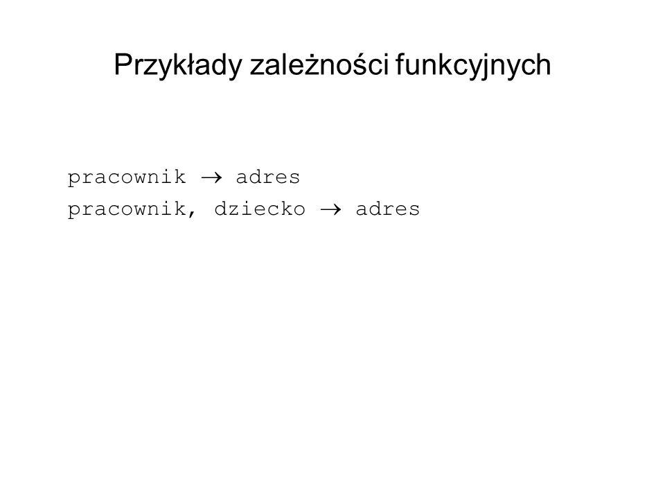 Przykłady zależności funkcyjnych