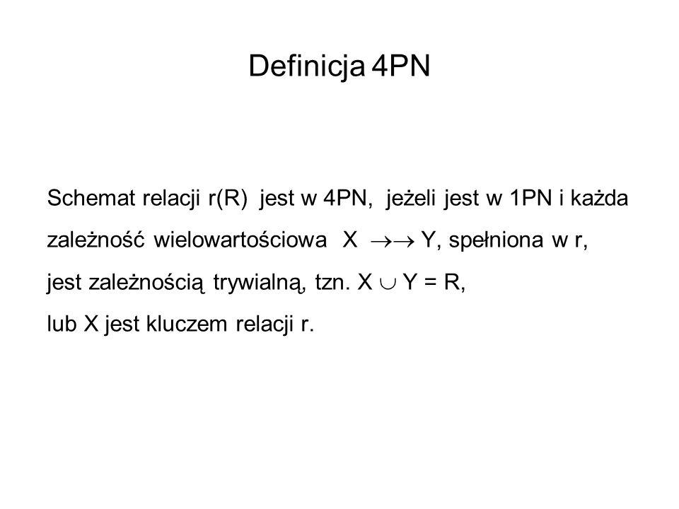 Definicja 4PN Schemat relacji r(R) jest w 4PN, jeżeli jest w 1PN i każda. zależność wielowartościowa X  Y, spełniona w r,