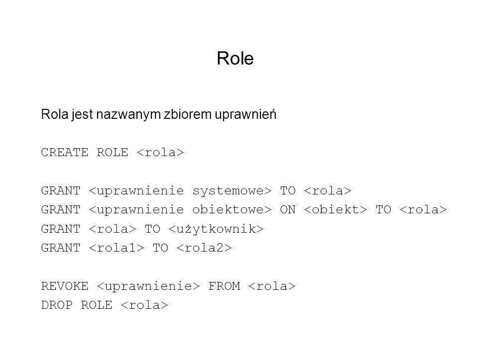 Role Rola jest nazwanym zbiorem uprawnień CREATE ROLE <rola>