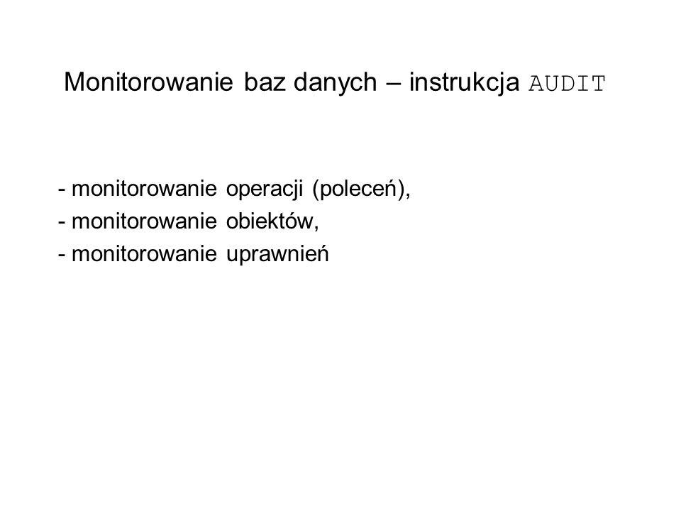 Monitorowanie baz danych – instrukcja AUDIT