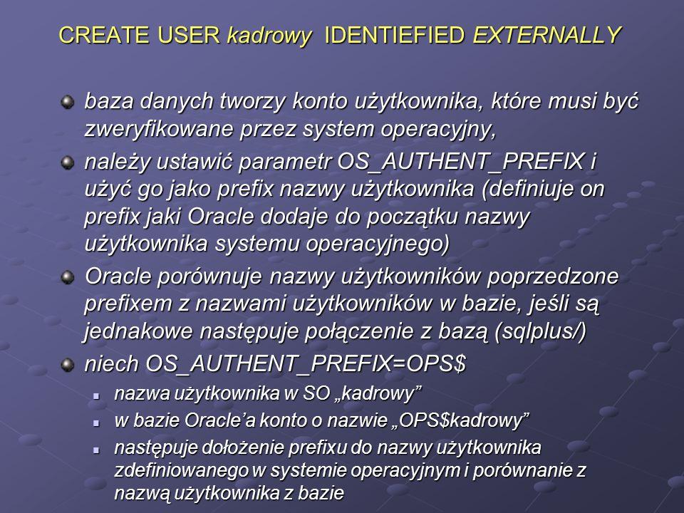 CREATE USER kadrowy IDENTIEFIED EXTERNALLY