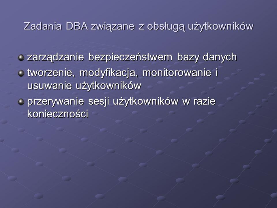 Zadania DBA związane z obsługą użytkowników