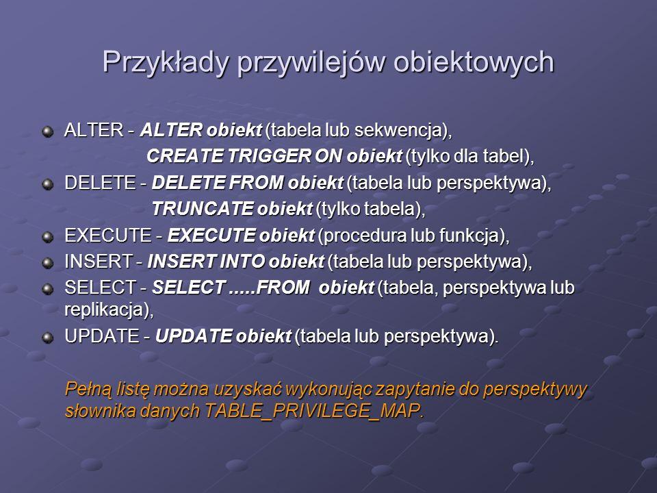 Przykłady przywilejów obiektowych