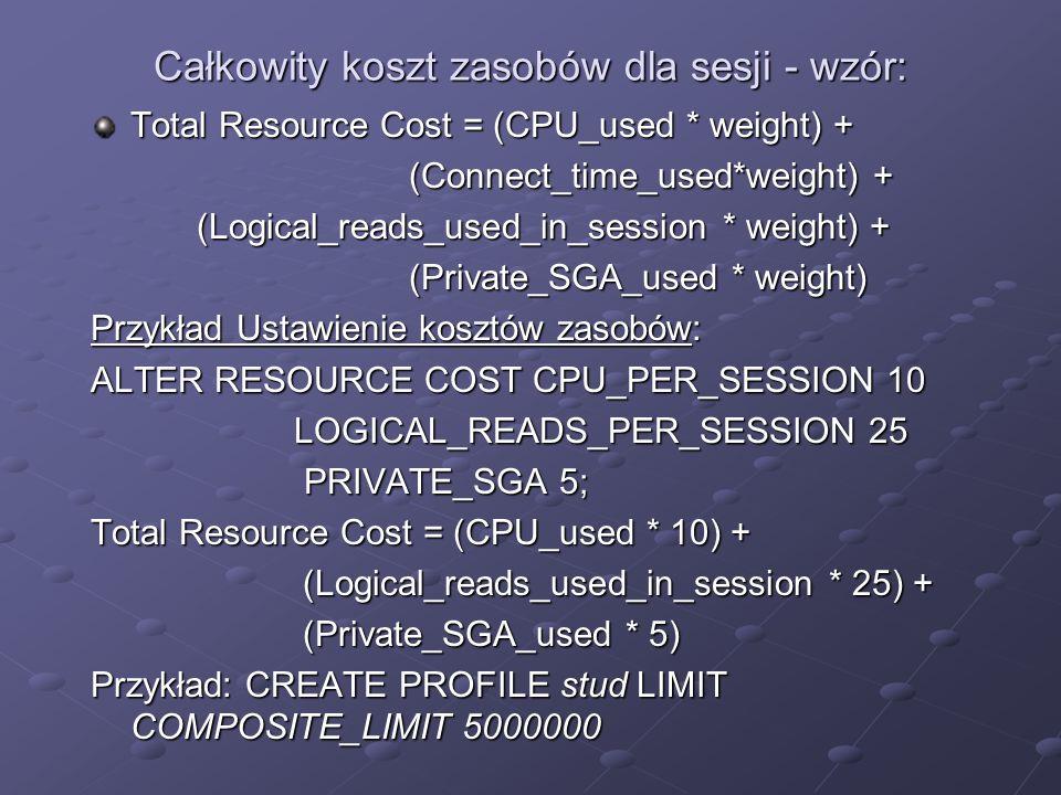 Całkowity koszt zasobów dla sesji - wzór: