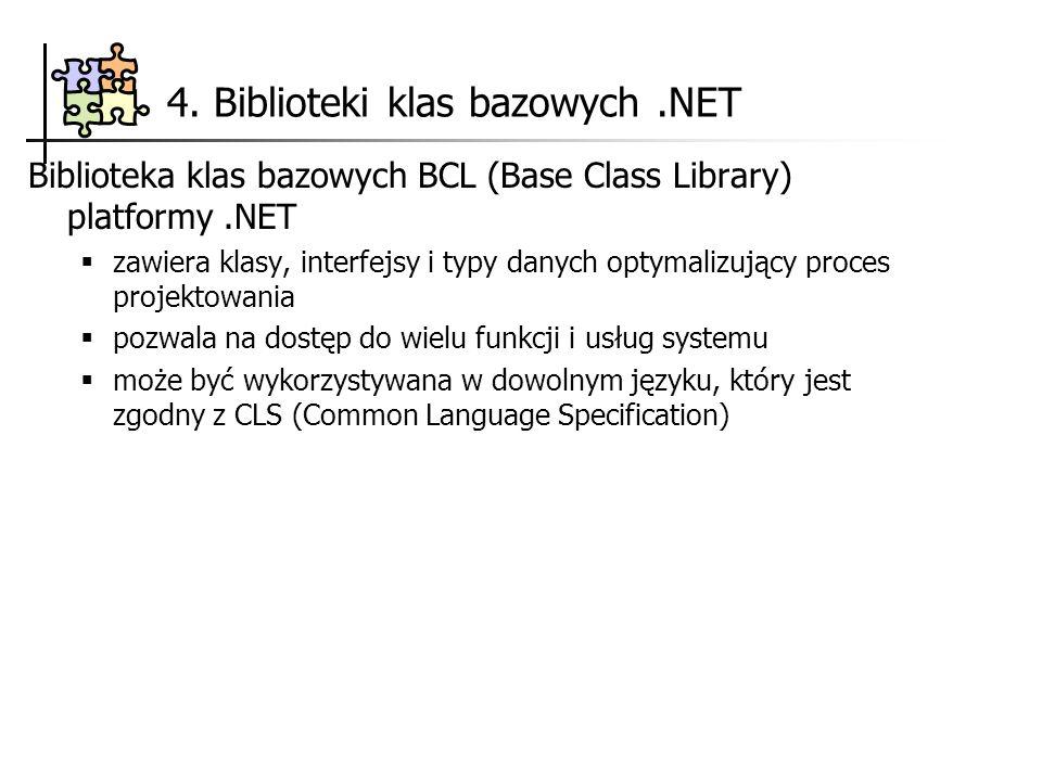 4. Biblioteki klas bazowych .NET