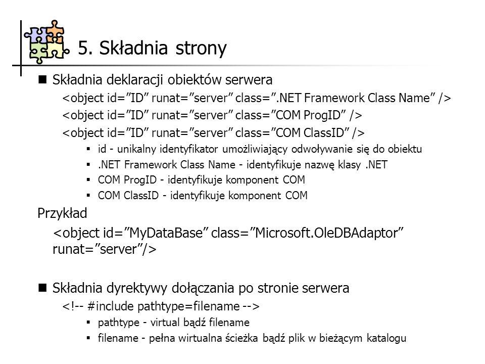 5. Składnia strony Składnia deklaracji obiektów serwera Przykład