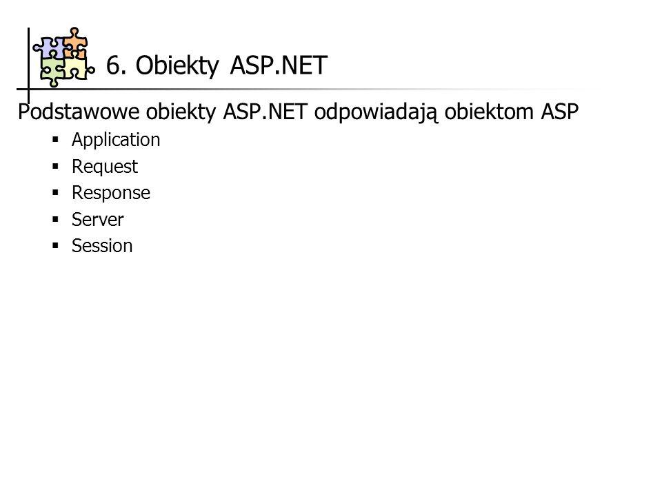6. Obiekty ASP.NET Podstawowe obiekty ASP.NET odpowiadają obiektom ASP