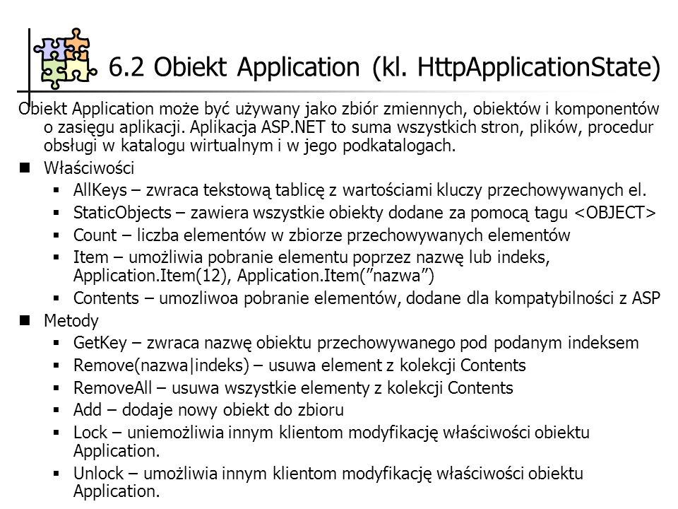 6.2 Obiekt Application (kl. HttpApplicationState)