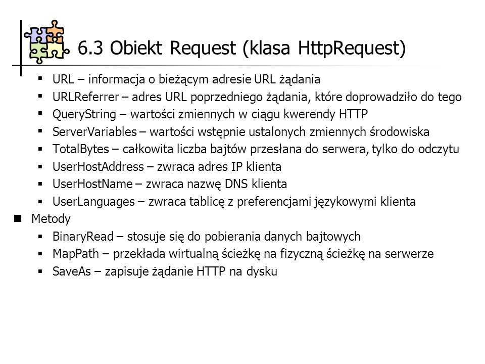 6.3 Obiekt Request (klasa HttpRequest)