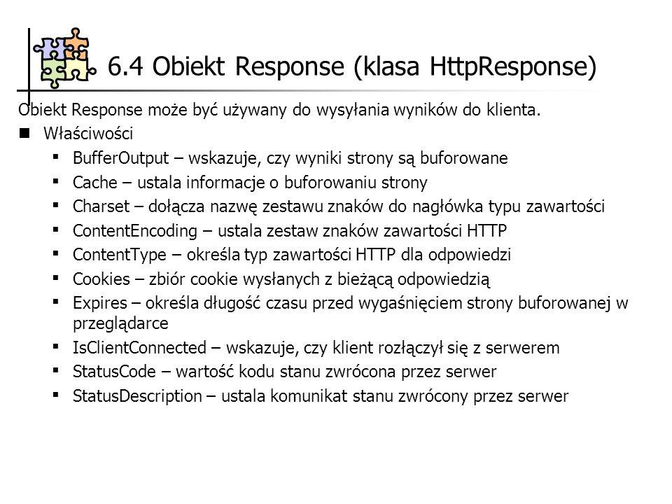 6.4 Obiekt Response (klasa HttpResponse)